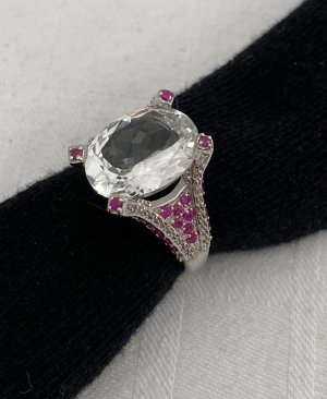 JWS Ring 925 Silber Weißtopas 38 Rubine Gr. 20 63 neuwertig
