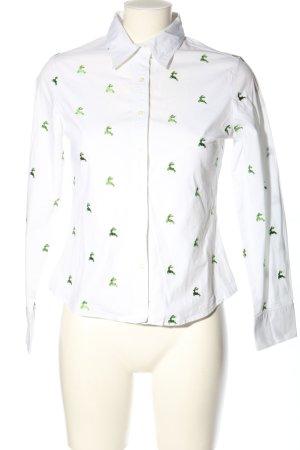 K & K Kaiserjäger Long Sleeve Blouse white-green themed print casual look
