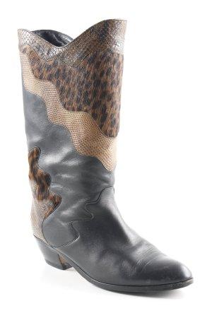 K+S Absatz Stiefel schwarz-braun Fellbesatz