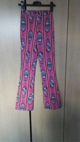 K4-7 Hippi Jersey Hose Stretch Leggings Pink/Rot Bunt Gr.34 Neu