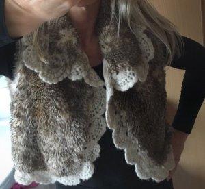 Kafé Stigur ausgefallene Weste Fake Fur Jacke 34-36 XS-S Spitze Rüschen zart edel neu