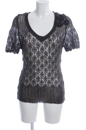 Kaffe Gehaakt shirt lichtgrijs Webpatroon elegant