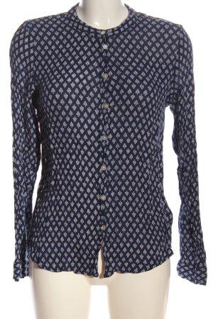 Kaffe Hemd-Bluse blau Allover-Druck Business-Look