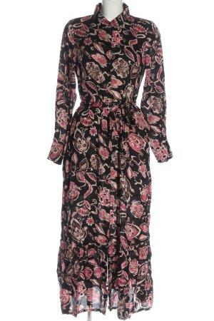 Kaffe Abito blusa camicia nero-rosa motivo astratto elegante