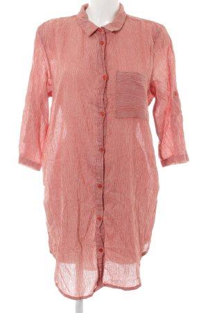 Kaffe Abito blusa camicia carminio-crema motivo a righe stile casual
