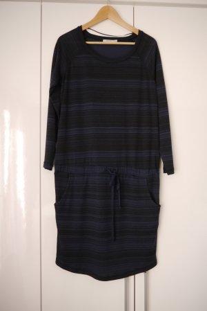 Kaffe Kleid mit Taschen blau schwarz dezentes Streifenmuster M