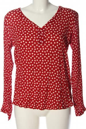 Kaffe Langarm-Bluse rot-wollweiß Allover-Druck Casual-Look