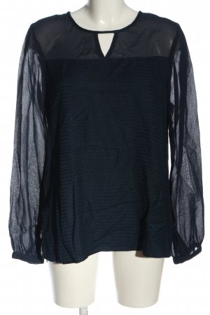 Kaffe Langarm-Bluse blau grafisches Muster Casual-Look