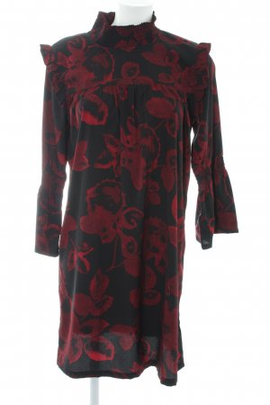 Kaffe Robe à manches longues noir-bordeau motif de fleur style romantique