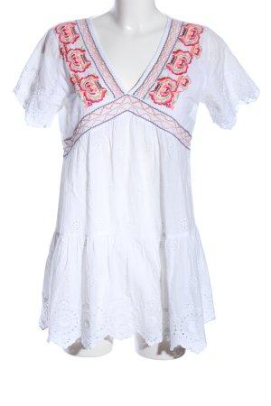 Kaffe Camicia lunga bianco motivo floreale stile classico