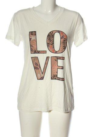 Kaffe Camiseta estampada blanco puro-marrón letras impresas look casual
