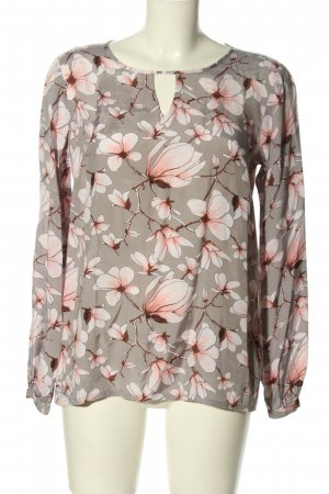 Kaffe Schlupf-Bluse hellgrau-pink Allover-Druck Business-Look