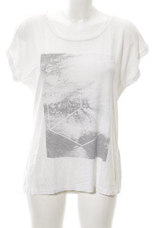 Kaffe T-Shirt weiß-hellgrau abstraktes Muster Casual-Look