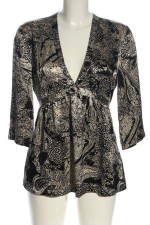 Kaffe Tunikabluse schwarz-wollweiß abstraktes Muster Casual-Look