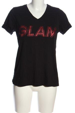 Kaffe V-Ausschnitt-Shirt schwarz-pink Schriftzug gedruckt Casual-Look
