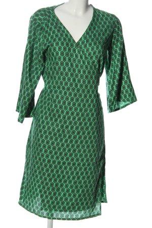 Kaffe Vestido cruzado verde-caqui estampado repetido sobre toda la superficie