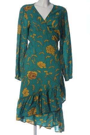 Kaffe Robe portefeuille vert-orange clair imprimé allover style décontracté