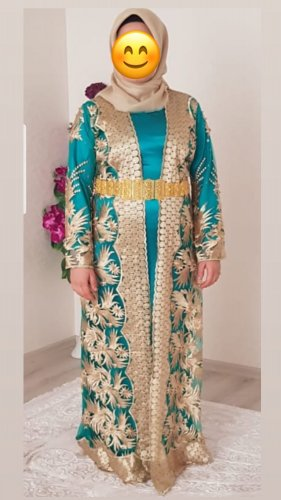 Caftan gold-colored-turquoise