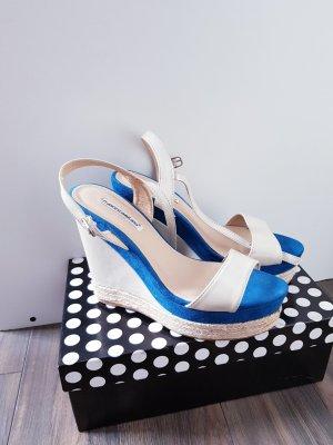 Francesco Milano Platform High-Heeled Sandal cream-neon blue