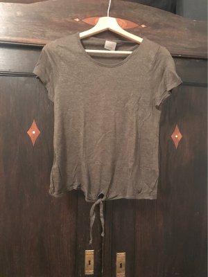 Kaki Farbenes T-shirt mit Knoten