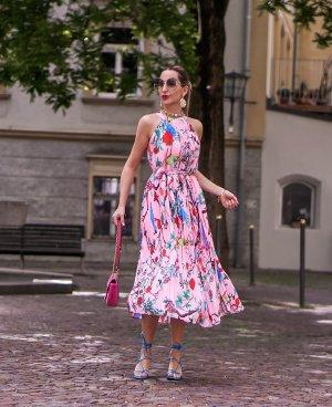 KALA BERLIN Plisee Kleid Rosa mit Print Gr XS (34/36)