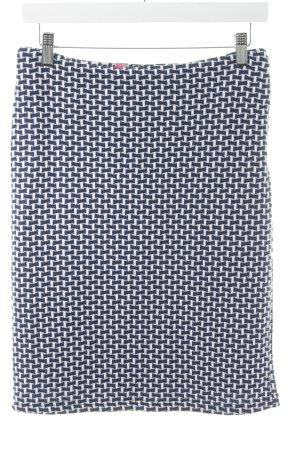 Kala High Waist Rock weiß-dunkelblau Webmuster schlichter Stil