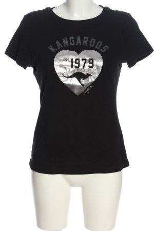 Kangaroos Print-Shirt schwarz Motivdruck Casual-Look