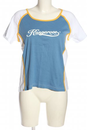 Kangaroos Maglietta sport bianco-blu caratteri stampati stile casual