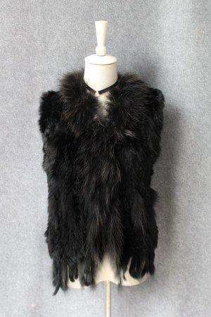 Fur vest black-black brown