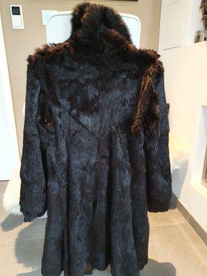 Futrzany płaszcz ciemnobrązowy-czarno-brązowy
