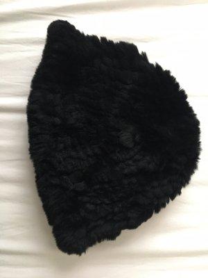 Kaninchenfell Mütze/schwarz