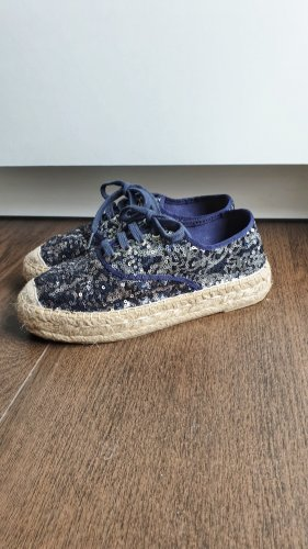 Kanna Espadrilles 38 Sneaker Pailletten blau Glitzer Schnürschuhe