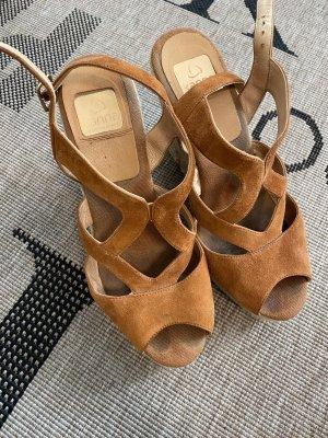 Kanna Wedge Sandals cognac-coloured