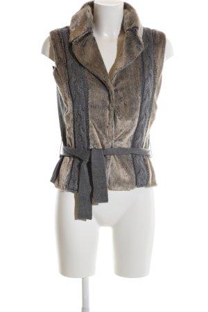 Kapalua Chaleco de piel marrón-gris claro estilo extravagante
