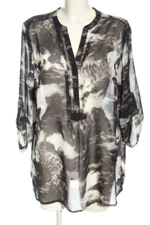 Kapalua Langarm-Bluse schwarz-weiß abstraktes Muster extravaganter Stil