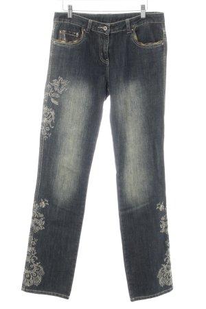 Kapalua Straight-Leg Jeans dunkelblau-wollweiß florales Muster