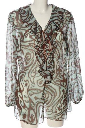 Kapalua Transparenz-Bluse weiß-braun abstraktes Muster Casual-Look