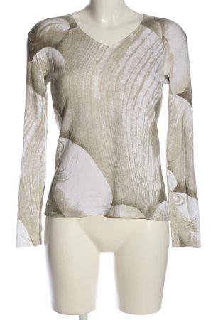 Kapalua V-Ausschnitt-Pullover braun-weiß abstraktes Muster Casual-Look