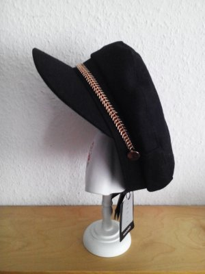 Mango Sombrero de tela color oro-negro Lana