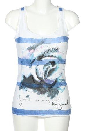 Kaporal Tanktop weiß-blau abstraktes Muster Casual-Look