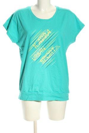 Kappa Oversized Shirt türkis-blassgelb Schriftzug gedruckt Casual-Look