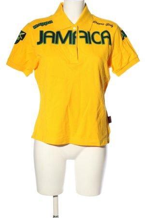 Kappa Polo-Shirt blassgelb Schriftzug gedruckt Casual-Look