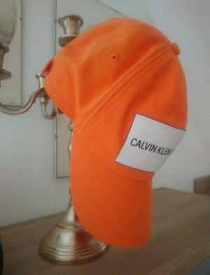 Calvin Klein Baseballówka pomarańczowy