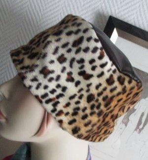 Kappe Hut Mütze Leo Leopard beige braun Ledereinsatz braun (Imitat) one size passt sich der Koppfforn an S M L