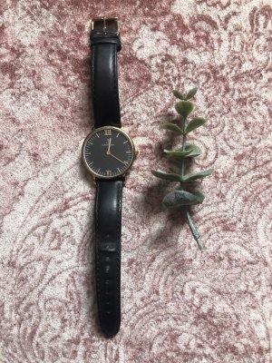Kapten & Son Watch With Leather Strap black-gold-colored