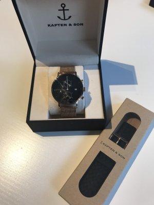 Kapten & Son Horloge met metalen riempje zwart-roségoud
