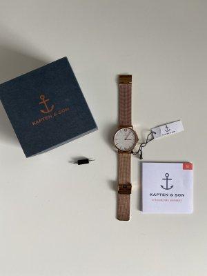 Kapten & Son Zegarek analogowy biały-w kolorze różowego złota