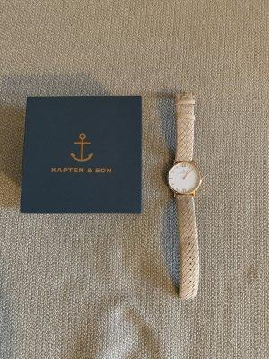 Kapten & Son Montre avec bracelet en cuir or rose-crème