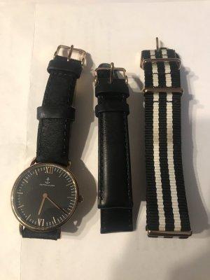 Kapten & Son Horloge met lederen riempje zwart-wit