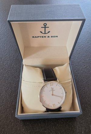 Kapten & Son Horloge met lederen riempje zwart
